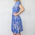 Zapara Royal Blue White Floral Print V-Neck Warp Dress