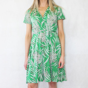 Zapara Green White Floral Print V-Neck Warp Dress