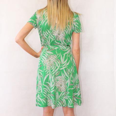 Zapara Green White Floral Print V-Neck Warp Dress