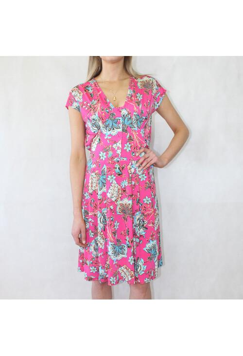 Zapara Fushia Floral Print V-Neck Dress