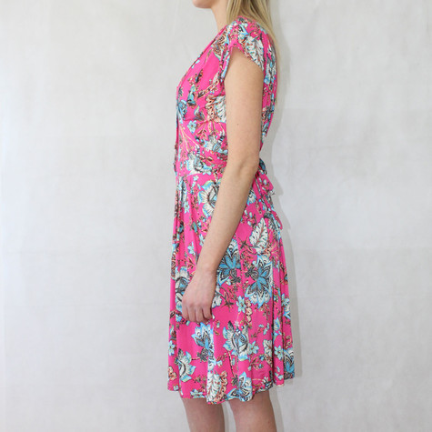 Zapara Fushia Floral Print V-Neck Dress