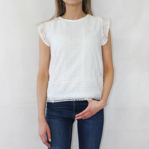Zapara White Lace Round Neck Top