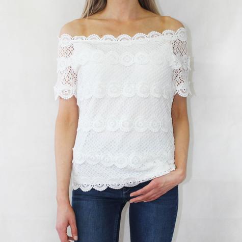 Zapara White Crochet Top