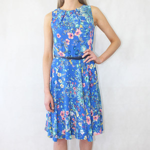 Zapara Blue Crepe Floral Print Dress