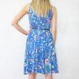 Zapara Blue Crepe Floral Print Dress