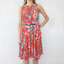 Zapara Red Crepe Floral Print Dress