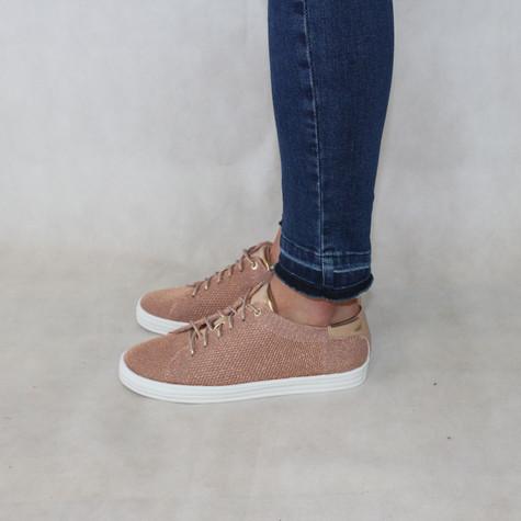 Rachel Gold Glitter Lace Trainer Shoes