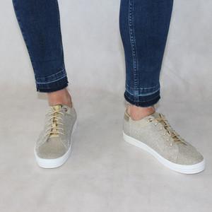 Rachel Champagne Glitter Lace Trainer Shoe