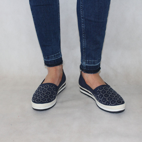 Marco Tozzi Navy & White Slip-On Shoes
