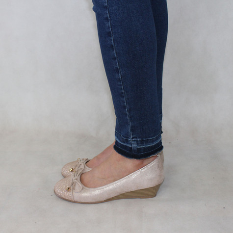 Rosie Nude & Glitter Lace Detail Slip-On Shoe