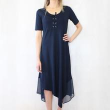 SophieB Navy Short Sleeve Mesh Hem Long Dress