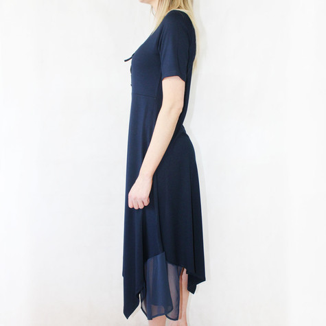 SophieB Navy Short Sleeve Mesh Hem Long Dress