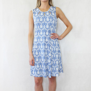 Zapara White & Navy Patterned Sleeveless Dress