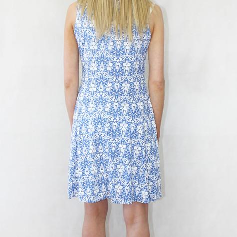 Zapara White & Navy Patterned Sleeveless Dress