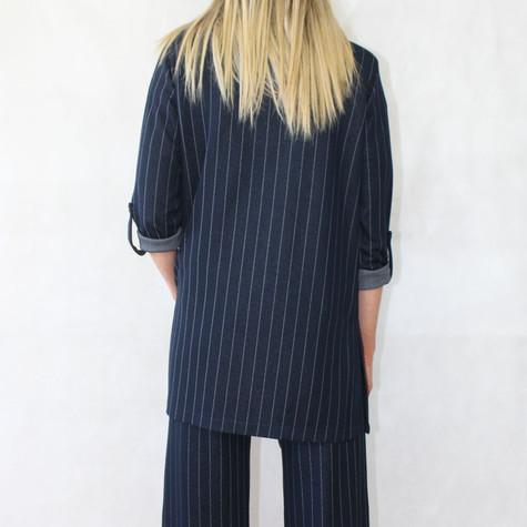 Zapara Pinstripe Navy Open Blazer