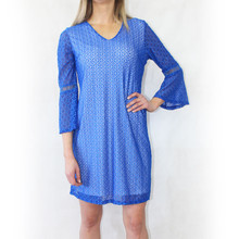 Zapara Royal Blue V-Neck Lace Dress