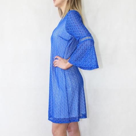 Zapara Royal Blue V-Neck Lace Dress