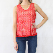 Zapara Red Lace V-Neck Sleeveless Top