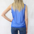 Zapara Royal Blue V-Neck Sleeveless Lace Top