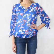 Zapara Royal Blue Cherry Blossom Print Top
