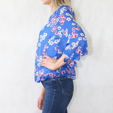 Zapara Royal Blue Cherry Blossom Print Top