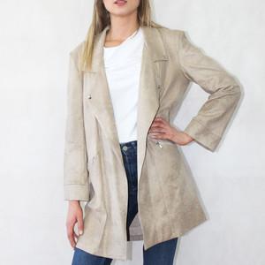 SophieB Beige Long Biker Style Jacket