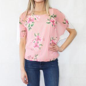 SophieB Coral Stripe Floral Print Top
