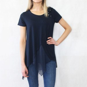 SophieB Navy Lace Up Shoulder Detail Mesh Hem Top