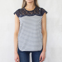 Zapara Navy Stripe Lace Shoulder Top