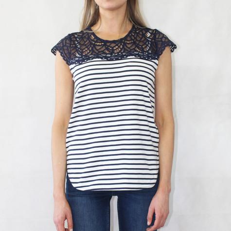 Zapara Navy Stripe Lace Shoulder Top