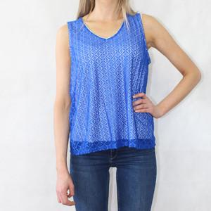 Zapara Royal Blue V-Neck Sleeveless Lace Top