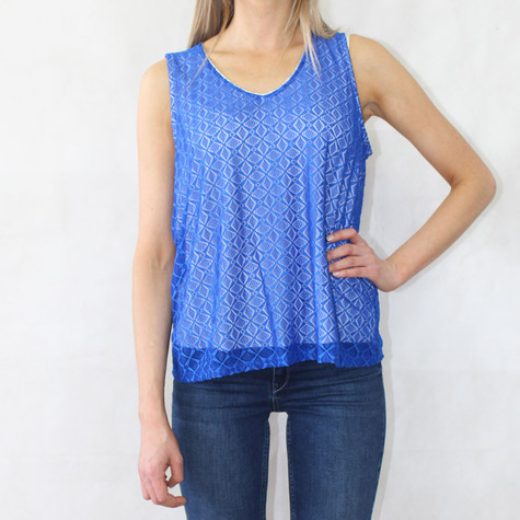 b96c61d0a9ec5 Zapara Royal Blue V-Neck Sleeveless Lace Top | Pamela Scott