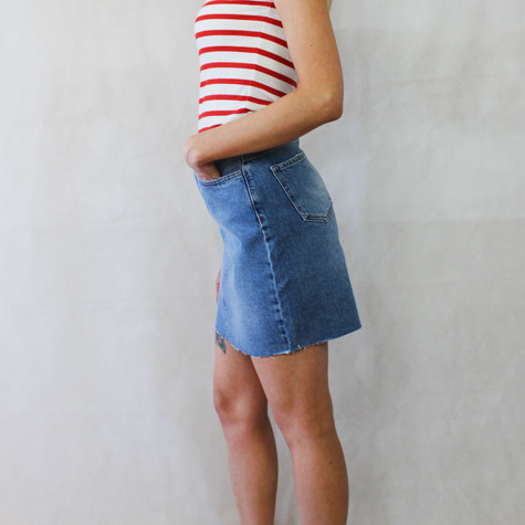 One More Story Classic Fray End Denim Skirt