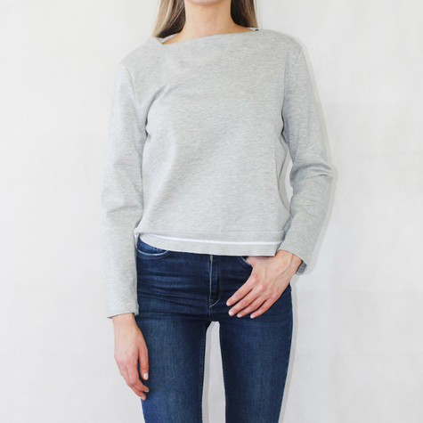 One More Story Grey Boat Neck Top