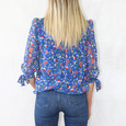 Zapara Royal Blue Floral Red Print Sweetheart Top