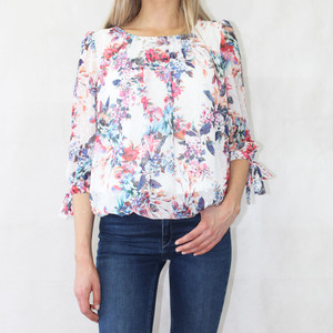 Zapara Off White Floral Print Sweetheart Top