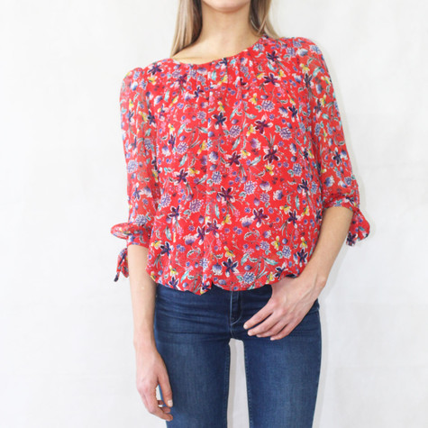 Zapara Red & Navy Floral Print Sweetheart Top