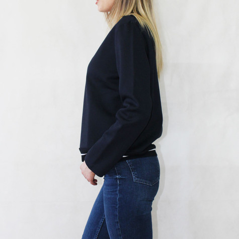 One More Story Navy Boat Neck White Strip Top