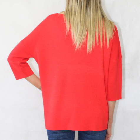 One More Story Red Bat Wing Pullover Top