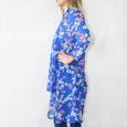Zapara Royal Blue Chiffon Print Long Blouse