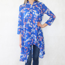 Zapara Royal Blue Chiffon Print Long Blouse