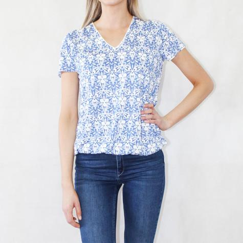 Zapara Blue Floral Pattern V-Neck Top