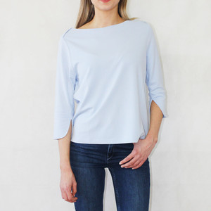One More Story Pale Blue Boat Neck Top