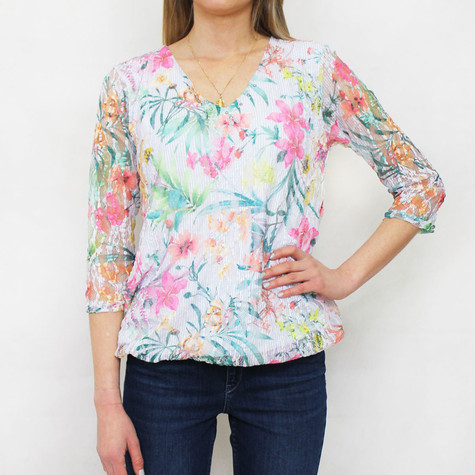 Zapara Green & Yellow Floral Mesh V-Neck Top