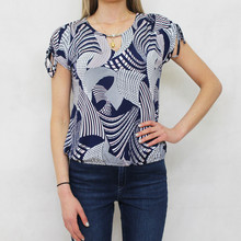 Twist Navy Swirl Pattern Pearl Detail Top