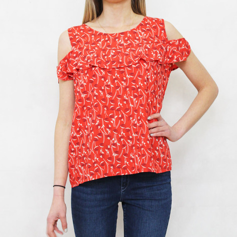 Zapara Red Cherry Pattern Print Cold Shoulder Top