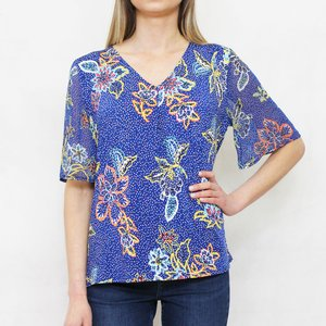 SophieB Royal Blue Yellow Leaf Print V-Neck Top
