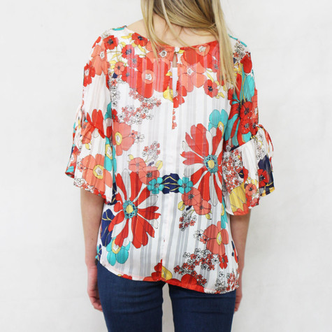 Zapara Chiffon Orange & Green Floral Print Top