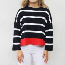 Twist Navy, White & Red Stripe Knit