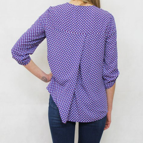 Zapara Navy, Red & White V-Neck 3/4 Sleeve Blouse